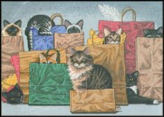 """VINTAGE 1999 DIMENSIONS CATS """"BAG LADIES"""" COUNTED CROSS STITCH KIT ~ SEALED #Dimensions #Frame"""