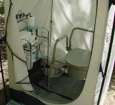 Glamping porta potty / outhouse - there's nothing like having a few of the conveniences of home in a potty tent.  Brilliant idea!