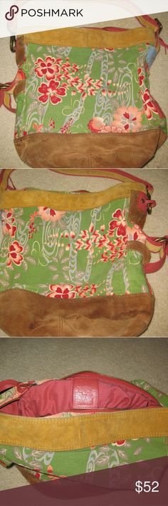 Lucky Brand large floral handbag with suede trim. Over the shoulder large Lucky Brand pink and green floral handbag with light and darker carmel color suede trim. Great condition. Water marks on bottom suede portion of bag. Lucky Brand Bags Crossbody Bags