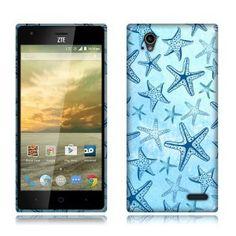 ZTE Warp Elite Z9518 Silicone Skin Cover Case - TPU Blue Starfish Pattern 1
