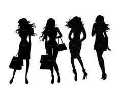 Fashion Shopping Girls Silhouette Digital Clipart Vector Eps Etsy In 2021 Girl Silhouette Silhouette Girl Clipart