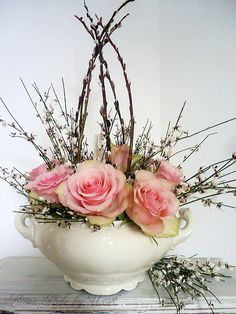 Enchanted floral arrangement of pink Roses & Pussy Willows!