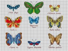 Schema punto croce Farfalle 30