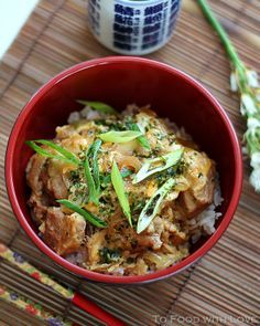 """Oyako-Don (Chicken and Egg with rice) This recipe is adapted fromJapanese Cooking at Home by Hideo Dekura:    Oyako means """"parent and child"""" because both chicken and egg are used in this dish. Don comes from the word Donburi, a """"large bowl"""" in which savoury rice or hot noodles with soup are served."""