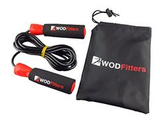 WODFitters Jump Rope for Cardio Fitness Training - Top Rated Exercise Tool for Weight Loss and Heart Health - Super Quick Ball Bearing - Fully Adjustable - FREE Training & Sizing eGuide & Carry Bag - Perfect for Boxing MMA Cross Training (Red and Black Adjustable)