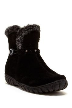 Bucco Dottie Women's Suede Boot With Faux Fur Trim -- Check out this great image  : Boots Mid Calf