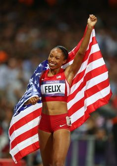 Allyson Felix of the USA wins gold in the Women's 200 Meter Final on 8/812 in London!  Olympics Day 12 - Athletics