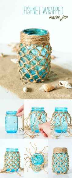 Fishnet Wrapped Mason Jar More