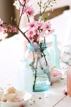 Cherry blossoms in blue vases