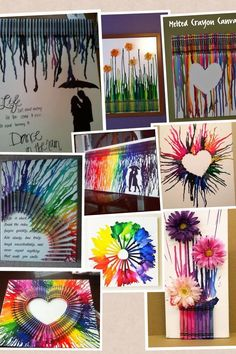 How to make colorful melting crayon canvas art arts and craf Cute Crafts, Crafts To Do, Crafts For Kids, Arts And Crafts, Easy Crafts, Creation Art, Melting Crayons, Fun Projects, Diy Art