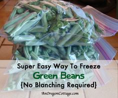 How To Freeze Green Beans Without Blanching - An Oregon Cottage. LMW: Plus lots of suggestions and a couple of interesting frozen vegetable recipes in the comments. Freeze Fresh Green Beans, Frozen Green Beans, Freezing Green Beans, Freezing Lemons, Freezing Fruit, Freezing Vegetables, Frozen Vegetables, Veggies, Gourmet