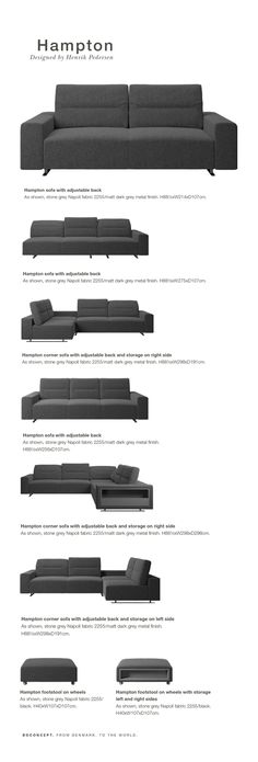 The modern Hampton sofa is much more than just good Scandinavian looks. A low base, a stunning loft look, adjustable backrests for comfort and visual impact – the Hampton sofa is the perfect personal retreat. Put your feet up, stretch out or use it as an extra seat – you won't be sorry for choosing this comfortable lounge sofa.