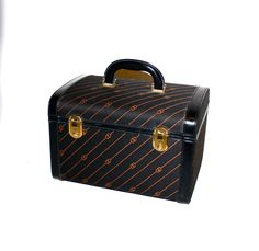 Vintage GUCCI Train Case Black Monogram Leather Luggage  -AUTHENTIC-