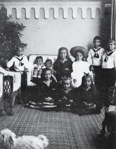 OTMA with their cousins, the children of Xenia Alexandrovna. Nikita, Dmitri, Rostislav, Olga, Irina, Andrei and Feodor in back, with Tatiana, Anastasia and Maria (and someone's little dog!) in front