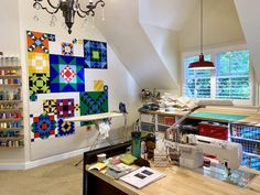 Rebecca Grace Quilting: Studio Tour: Let There Be Light! And Also, Thread! Upgrades From My Sweetie Oak Shelves, Shelving, Be Light, Touch Up Paint, Quilting Rulers, Doll Quilt, Sewing Studio, Sloped Ceiling, Machine Quilting