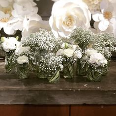 Look at these clouds of baby's breath, packed as much as could in these jam jars for a rustic vintage wedding, someone must have applied serious dedication on eating a lot of jam to collect jars! Added a little white lisianthus because their fluffy petals are cute stuff. #weddingwork #BouquetGarni #babysbreath #millionstars #white #lisianthus #jamjars #rustic #vintage #BouquetGarni #floralarrangement #flowershop #thefloraldesigner