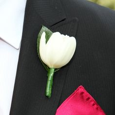 White Knight Boutonniere - White Tulip Wedding Boutonniere | Groom Boutonniere | Groomsmen Boutonnieres | Buy Boutonniere at BunchesDirect