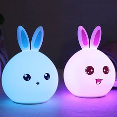 Cartoon Colorful Happy Rabbit LED Touch Table Night Light
