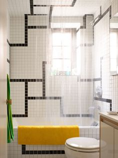 Get the Allover Bathroom Tile Look, Except Not Boring (and Not $$$)