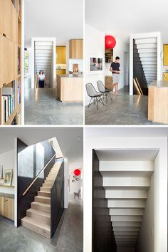 """These modern wood stairs have a large 1"""" thick weathering steel plate running alongside them, and over time, the steel plate will slowly develop a patina and change color."""