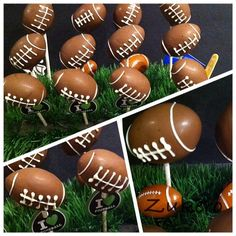 Football Cake Pops Football Cake Pops, Holiday Cakes, Holiday Decor, Cake Pop Designs, Christmas Bulbs, Create, Desserts, Food, Tailgate Desserts