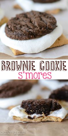 Brownie Cookie S'mores - make indoor s'mores with an easy brownie cookie recipe!
