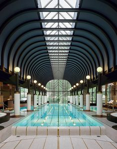The Belle Epoque-style pool inside the spa of the Victoria-Jungfrau Grand Hotel & Spa in Interlaken, Switzerland.