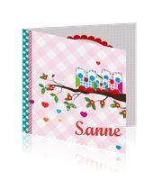Feestelijk geboortekaartje dochter met familie uil op ruitjes - BABYSTUFFcompany:http://kaartjesparadijs.nl/winkel/feestelijk-geboortekaartje-dochter-met-familie-uil-op-ruitjes-babystuffcompany/