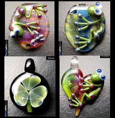 Glass froggies and clover..  i want be this artist when i grow up... or just learn lampworking :)