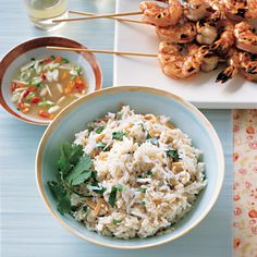 We serve this creamy rice dish with grilled skewered shrimp and Spicy Lime Dipping Sauce.