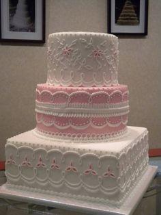 Pink and White Eyelet Lace Cake