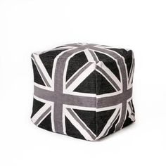 Union Jack seating cube Black Gray White now featured on Fab.