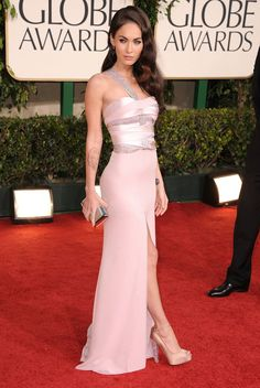 Pin for Later: Excessive Heat Warning: Megan Fox's All-Time Sexiest Looks Megan Fox in Armani Privé at the 2011 Golden Globes We were treated to a peek at her dazzling Brian Atwood pumps as she floated down the red carpet.