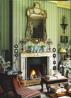 Room ~ striped walls, floral skirted table, miniatures, blue and white porcelain and a warm fire in Roger Banks-Pye sitting room English Country House, House In The Woods, Country Decor, Decor, Beautiful Interiors, Green Rooms, Classic Wallpaper, English Decor, Home Decor