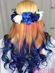 Blonde blue ombre dyed hair