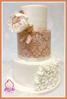 Pippa's Kitchen rose gold wedding cake with ruffles and David Austin rose