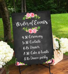Printable large wedding signs, rustic wedding ideas, wedding ceremony sign, wedding day schedule, order of events wedding sign DIGITAL Order Of Wedding Ceremony, Wedding Reception Timeline, Welcome To Our Wedding, Wedding Ideas, Trendy Wedding, Floral Wedding, Wedding Ceremonies, Wedding Seating, Wedding Programs