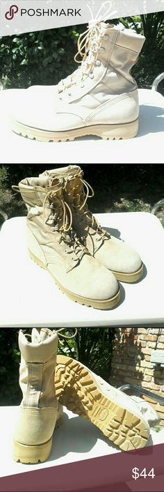 NEW -  Hot weather desert combat boots This is a new pair of military issue desert sand hot weather combat boots.   Uppers are leather/ nylon combination with Vibram soles.  This is the same specs as the Belleville variety... appear to have been manufactured by them but no tag. U.S. MILITARY  Shoes Boots