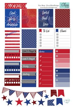 4th of July planner stickers by CleverMomDesigns on Etsy
