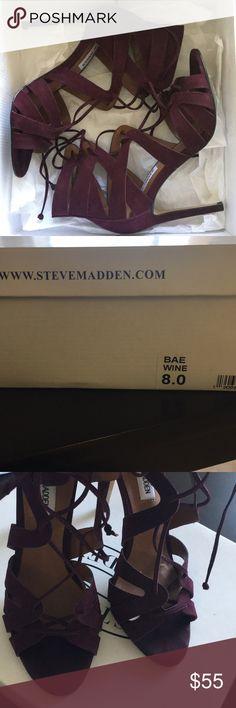 Steve madden high heels Super cute lace up burgundy Steve madden high heels Steve Madden Shoes Heels