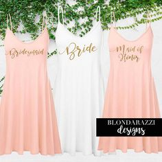 Bride and Bridesmaid Outfits Gifts for Getting Ready on Wedding Day Tunic Tops Mini Dress Beach Swimsuit Coverup for Bachelorette Party Engagement Wedding Bridal Shower Gift Available in Plus Size Blush Pink White Wine Navy Black Gold