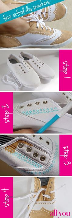 A step-by-step infographic on how to make your own Faux Oxford DIY shoes.