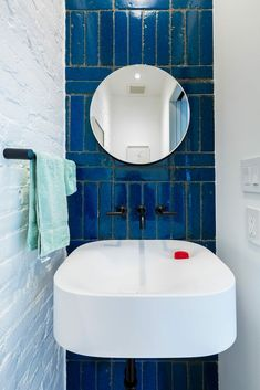 This adriatic lava stone subway tile is definitely the star of this half bath 😍 Wall Mounted Toilet, Wall Mounted Vanity, Front Stoop, Life Space, Door Trims, Radiant Heat, How To Level Ground, Wall Spaces, Sink