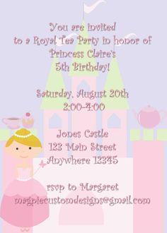 Little Princess Tea Party Invitations Wording To Invite Girls To - 5th birthday girl invitation wording