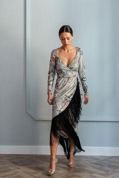 Niobe Fringe Midi Velvet Dress - All About Beautiful Maxi Dresses, Simple Dresses, Designer Wear, Designer Dresses, Wedding Attire For Women, Dress Outfits, Fashion Dresses, Velvet Midi Dress, Look 2018