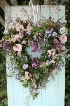 Spring Lilac and Rose Heart Wreath