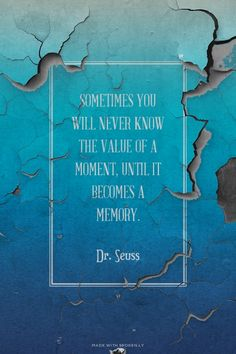 Sometimes you will never know the value of a moment, until it becomes a memory. - Dr. Seuss | Just made this with Spoken.ly