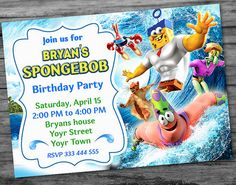 ♥ Welcome to PartyDesignPrint Workshop! ♥  This #Spongebob Birthday Invitation invitation is perfect for any little girls and boys! PRINTABLE DIGITAL FILE  Your invitation w... #spongebob