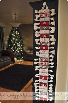 Advent calendar from toilet paper rolls and scrapbook paper, LOVE IT