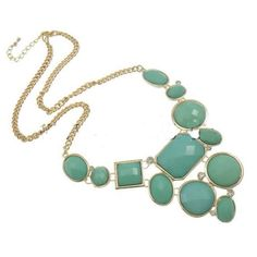Gold Tone Faceted Teal Cab & Rhinestone Statement Necklace $16.00